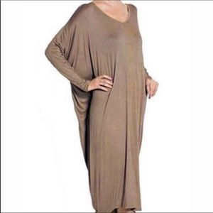 New! Tan V-Neck Back Batwing Sleeve Maxi Dress